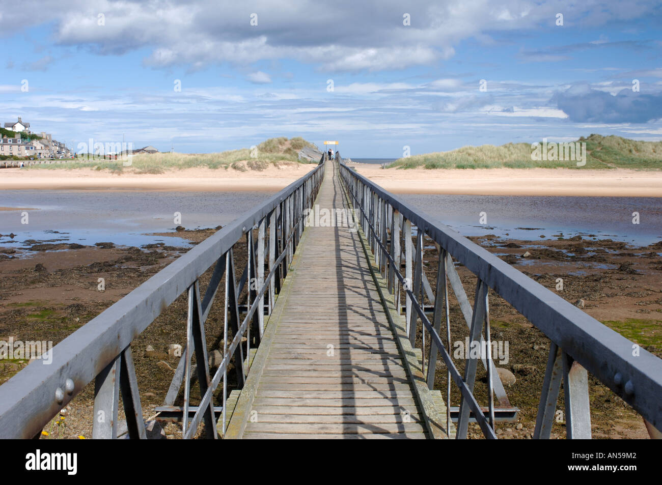 Lossiemouth, footbridge to the sandy beach and dune system Morayshire, Scotland. XPL 3231-321 - Stock Image