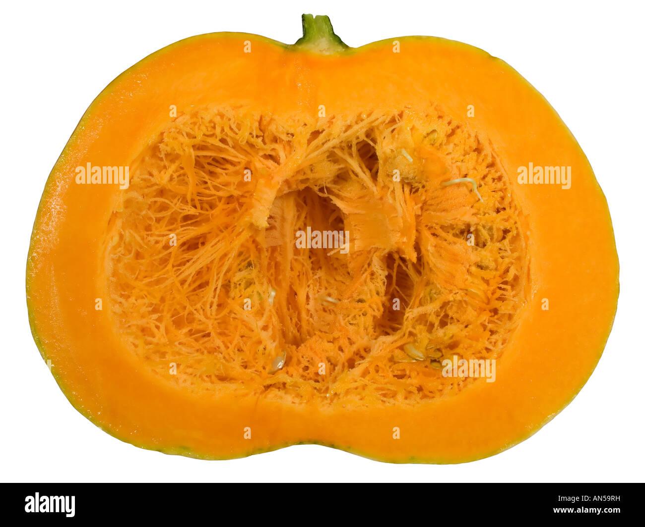 big round orange pumpkin sliced in half Stock Photo