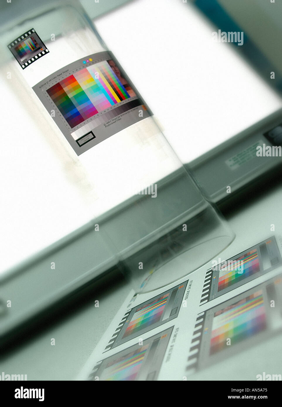 COLOUR CALIBRATION OF DRUM SCANNER USING KODAK TEST TRANSPARENCY - Stock Image