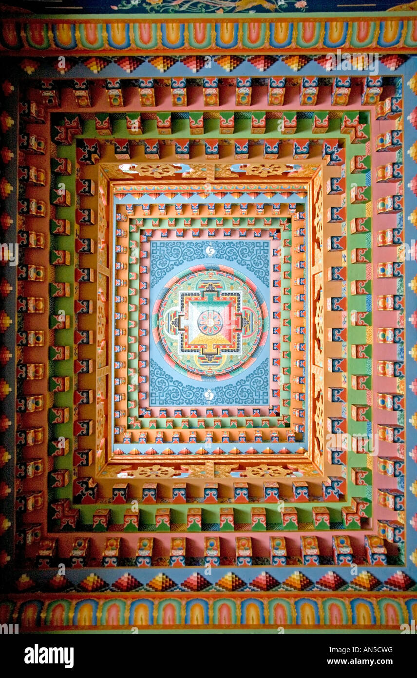 Detail of the ceiling. Gompa in Upper Pisang village. Annapurna circuit trek. Nepal - Stock Image