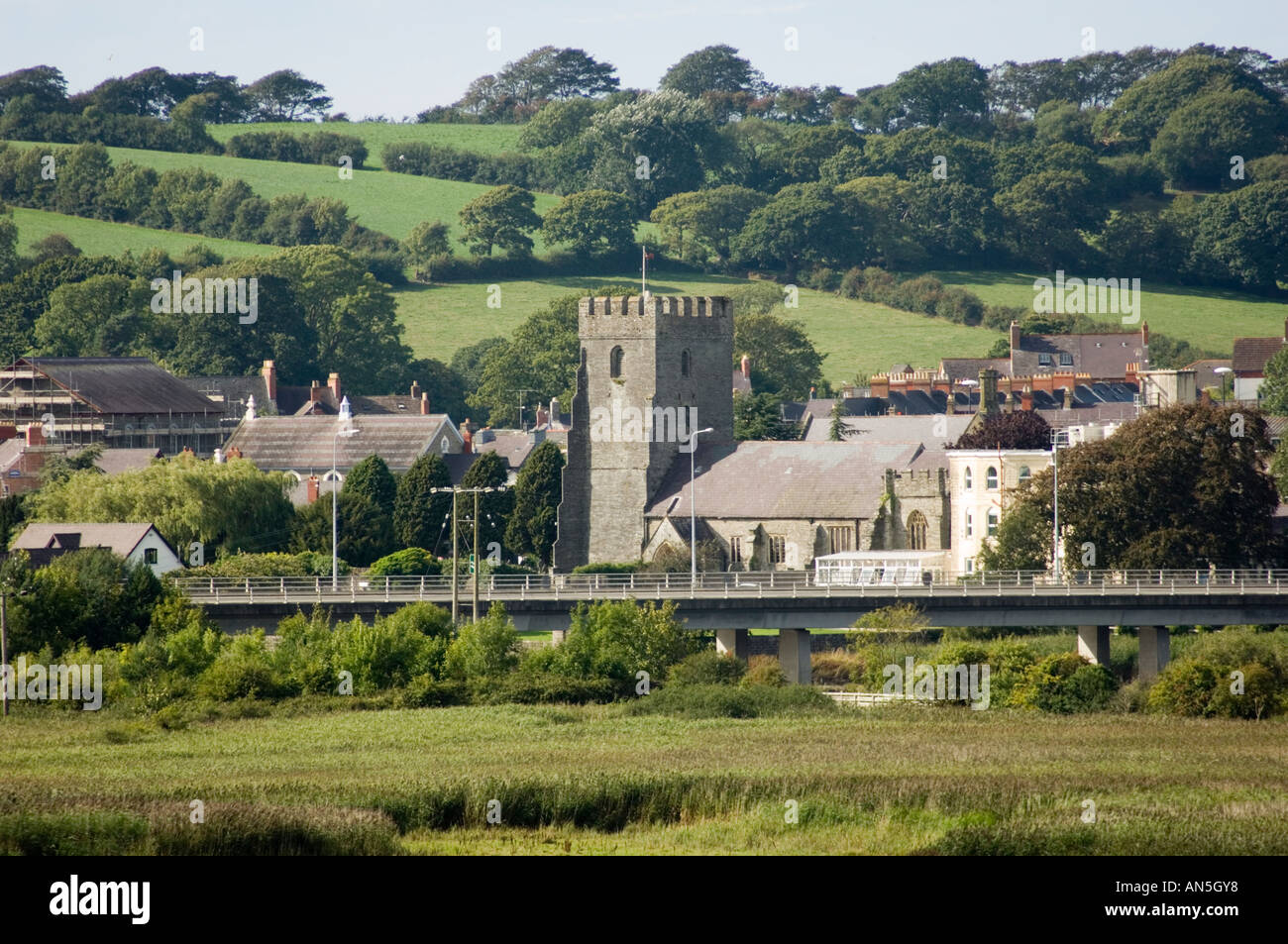 Cardigan Town (Abertifi) Ceredigion wales seen from teifi marshes outside the town Stock Photo