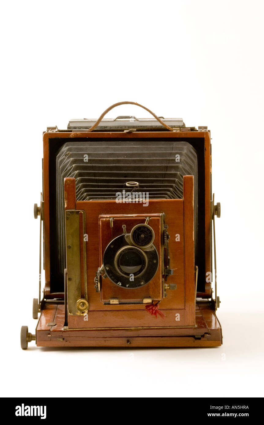 antique half plate large format leather bellows camera wood and brass old fashioned - Stock Image