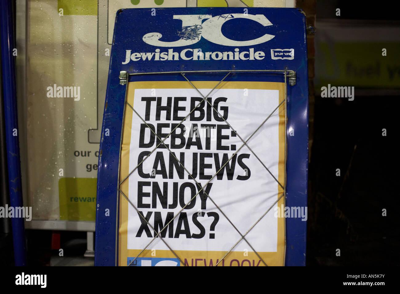 Jewish Chronicle newspaper headline board - Stock Image