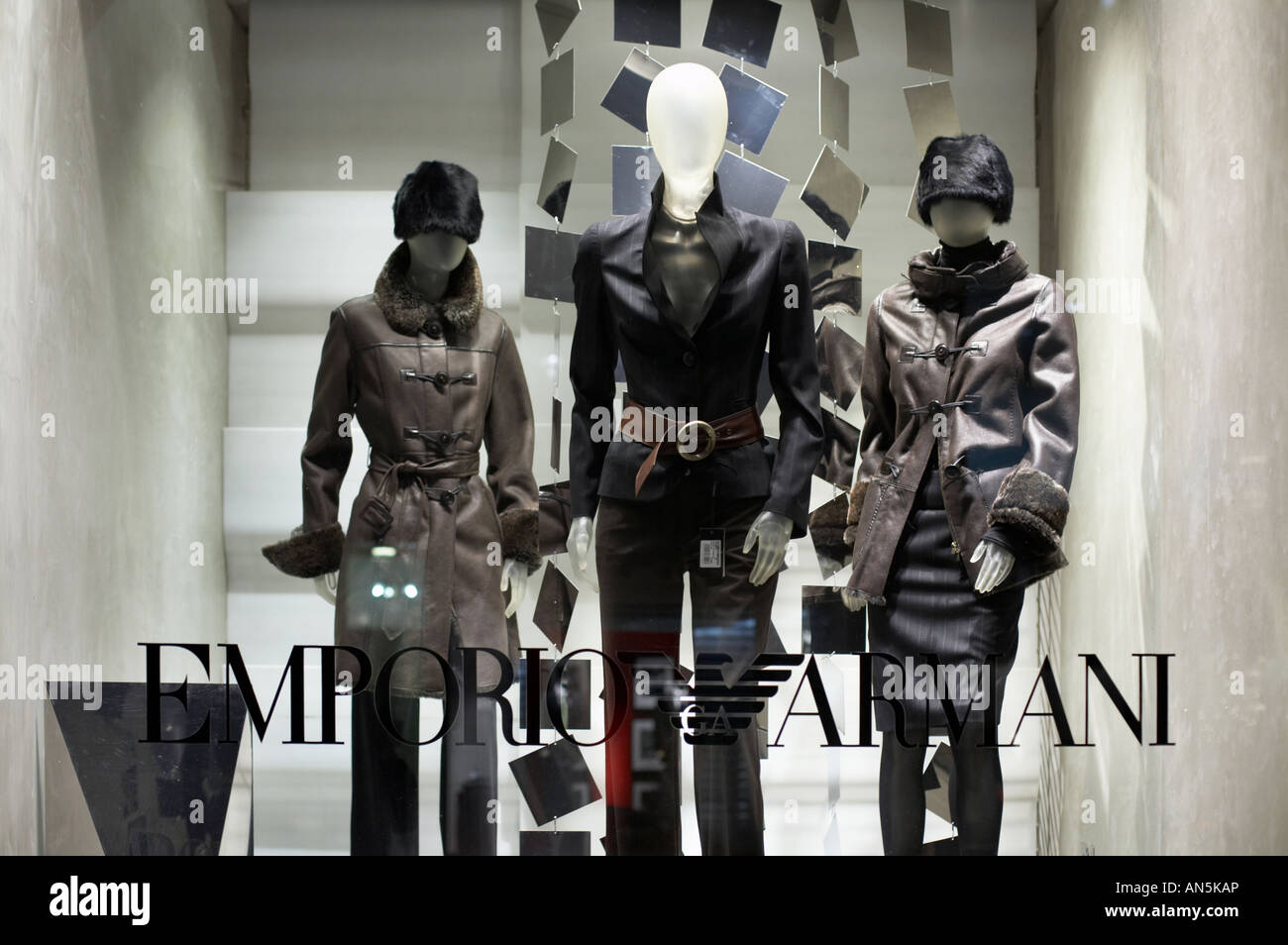Emporio Armani shop front window in Bond Street London England UK - Stock Image