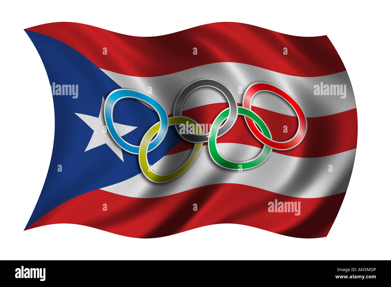 Flag Of Puerto Rico With Olympic Symbol Stock Photo 15420321 Alamy