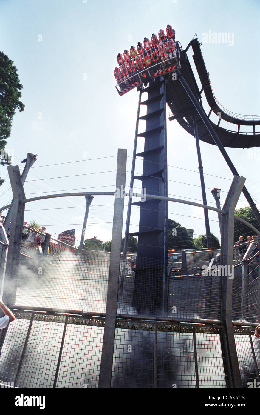 The Oblivion ride at Alton Towers amusement park in Staffordshire UK - Stock Image