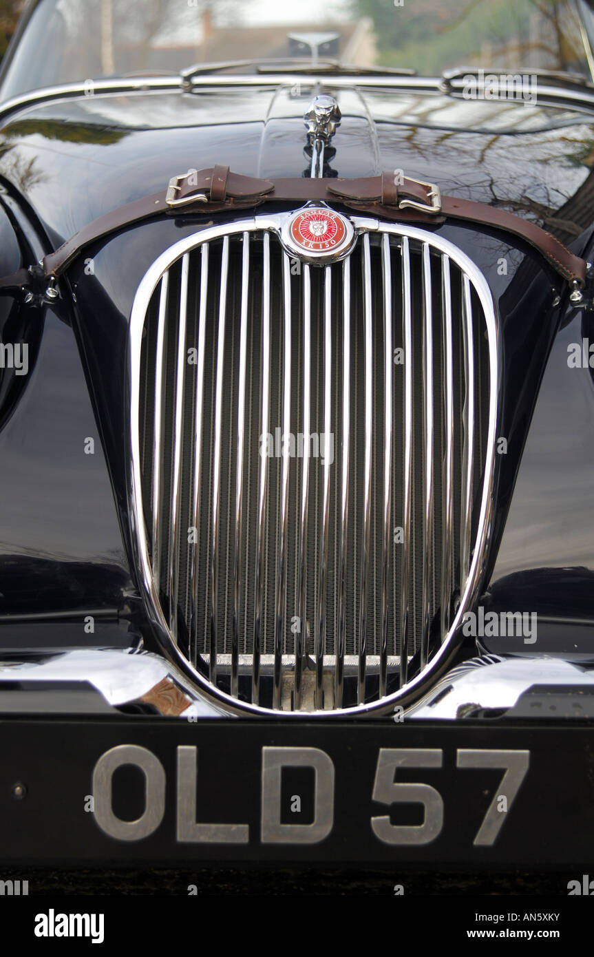 Front grille and numberplate of Jaguar XK 150 Roadster - Stock Image