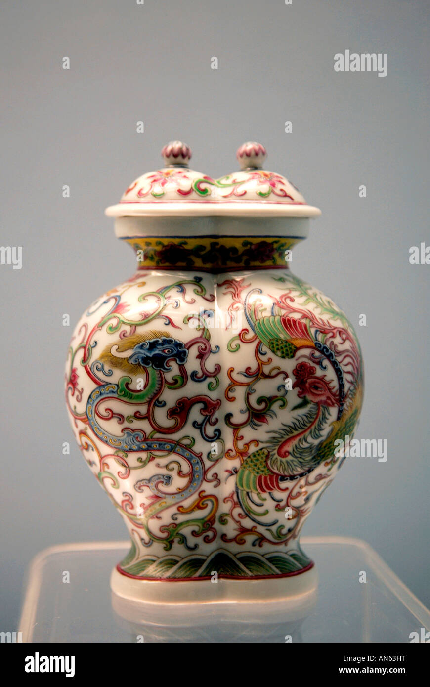 Shanghai Museum P R of China Polychrome Vase - Stock Image