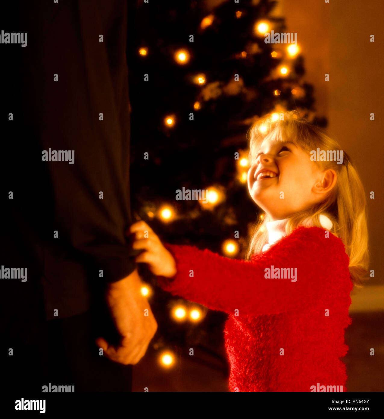A girl at Christmastime - Stock Image