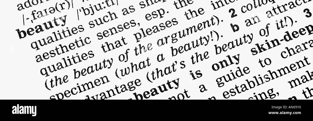 Dictionary description of beauty - Stock Image