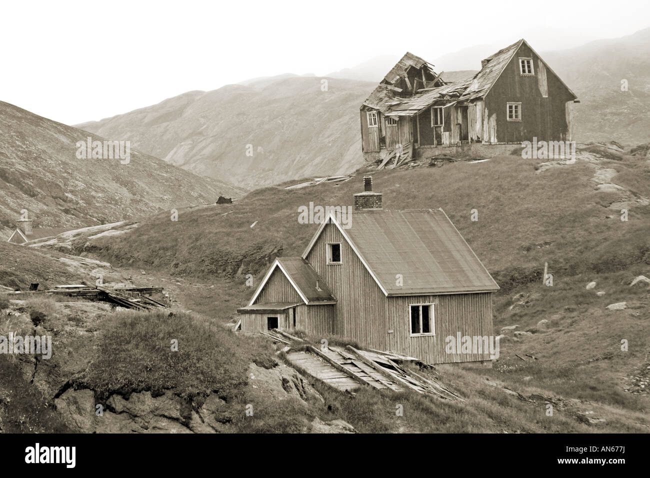 Deserted whaling village of Kangerq in Nuuk Fjord outside Greenland's Capital city of Nuuk, inhabited for 4,000 Stock Photo