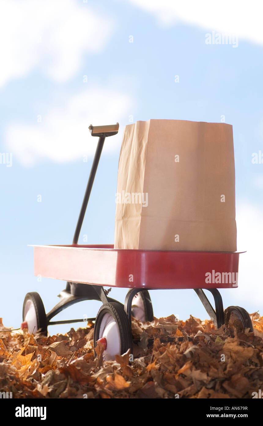 Red wagon carrying a brown paper bag - Stock Image