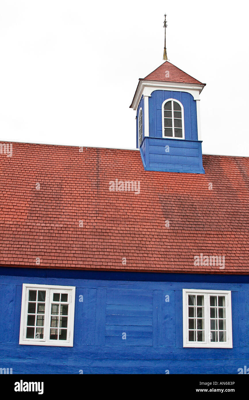 oldest church in Sisimiut on display at Sisimiut Museum in Sisimiut which is 2nd largest town in Greenland - Stock Image