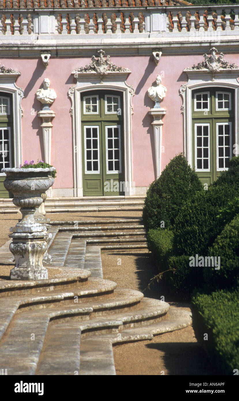 the beautiful and elegant Palace of Queluz at Sintra in Portugalis the summer seat of the Royal Family - Stock Image