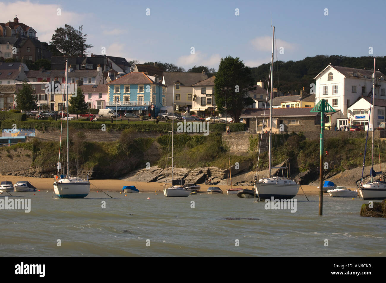 New Quay Ceredigion Wales Cardiganshire view from Outer Quay - Stock Image