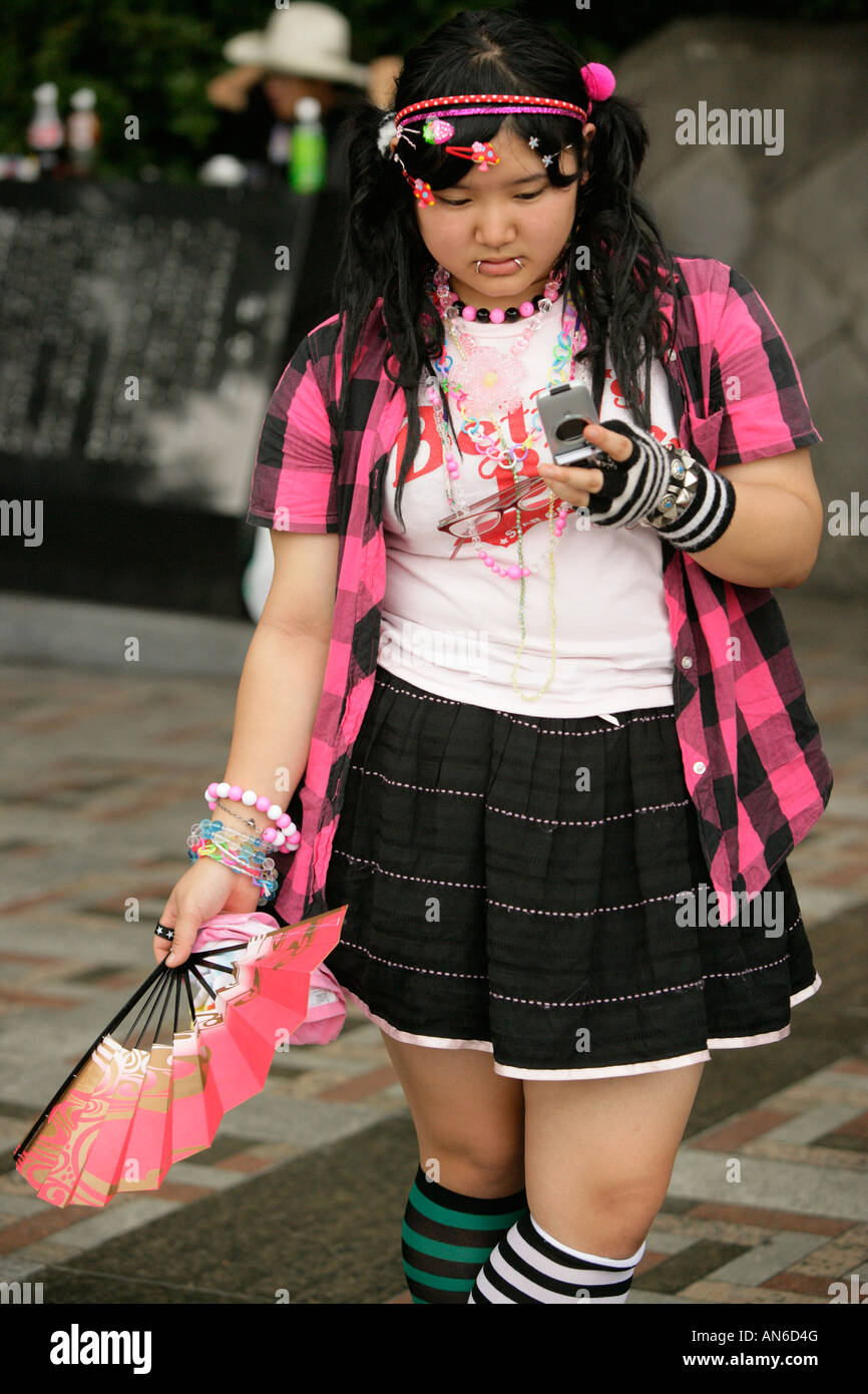 Teenage Girls Dressed In Alternative Street Fashion Relax Harajuku Tokyo Japan