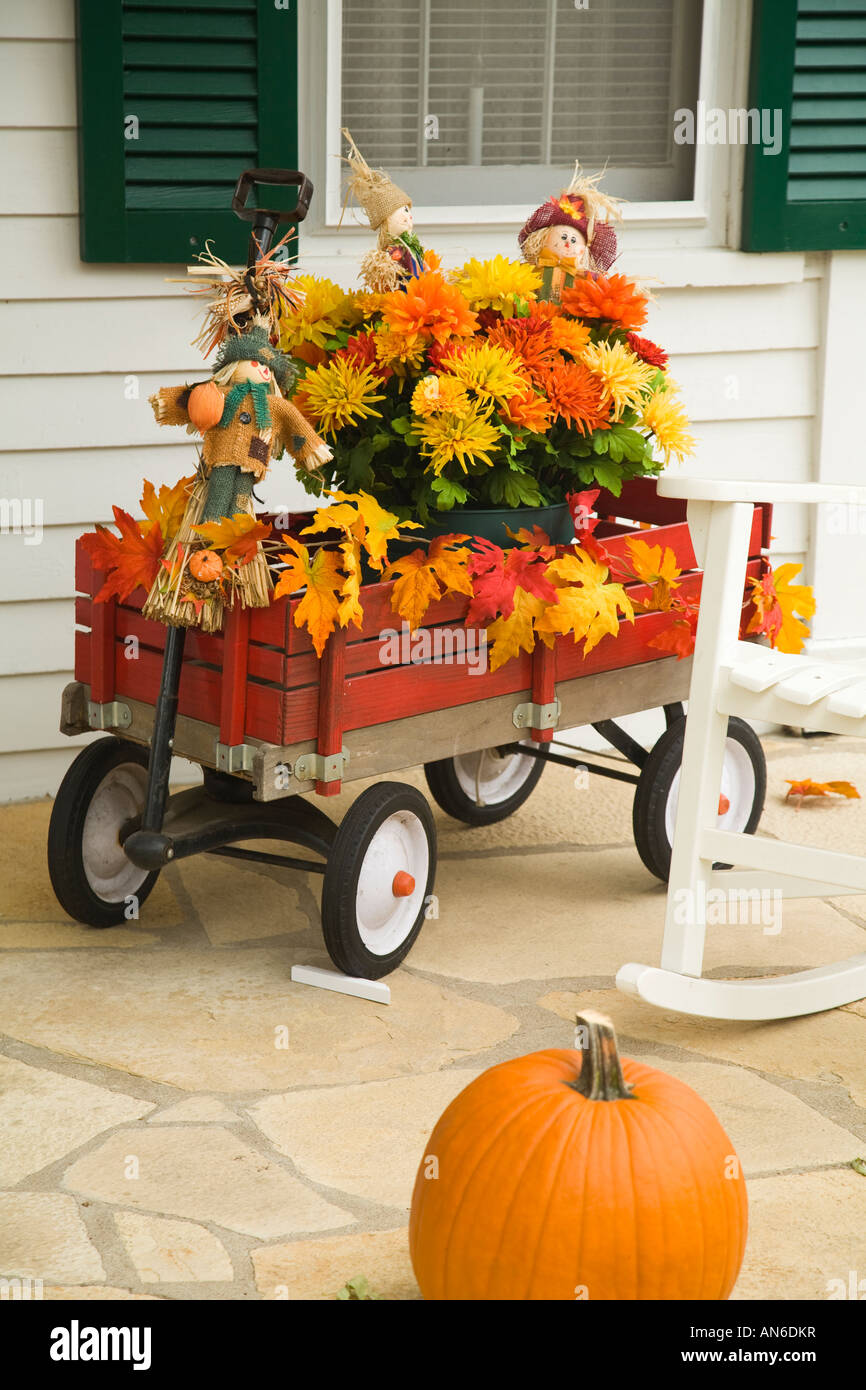 Illinois Galena Front Porch With Fall Decorations Childrens Red
