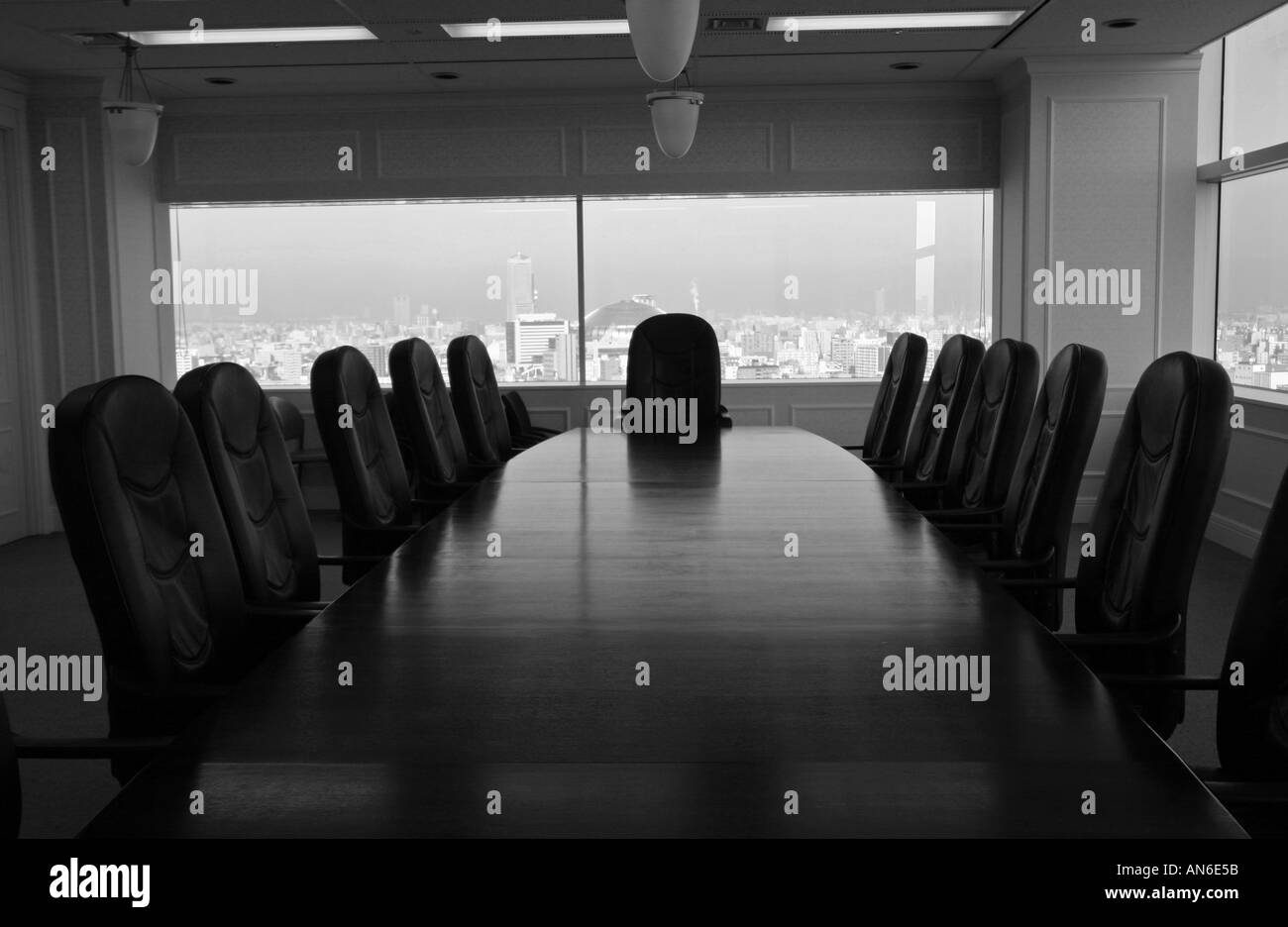 Long Wooden Boardroom Table With Executive Leather Chairs In Large - Large boardroom table