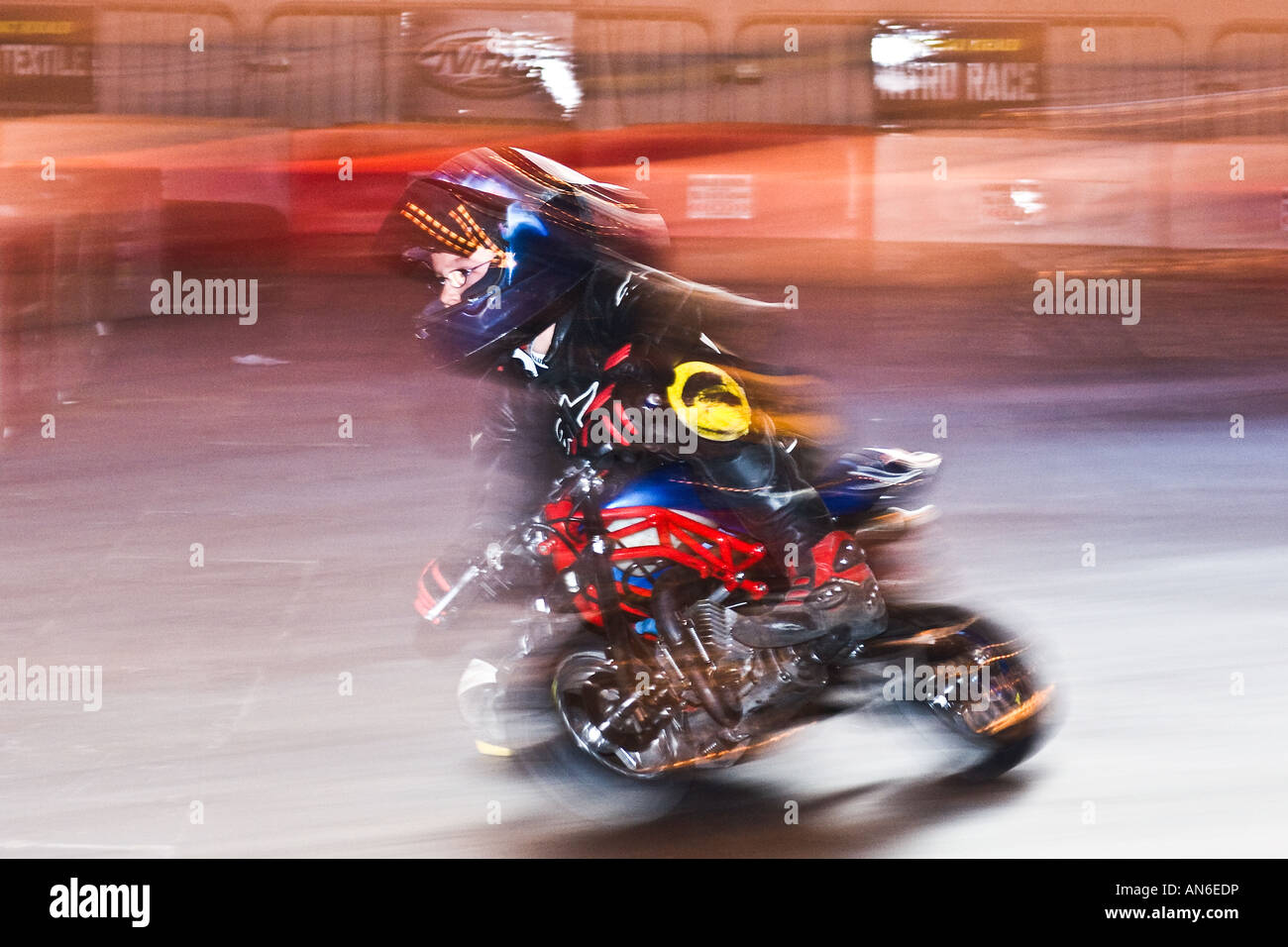 Young Boy On A Mini Moto Bike   Stock Image