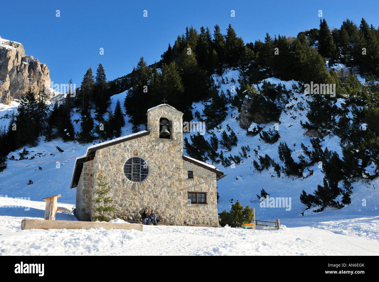 Winter in Malbun - Friedenskapelle with Sareis, Liechtenstein - Stock Image
