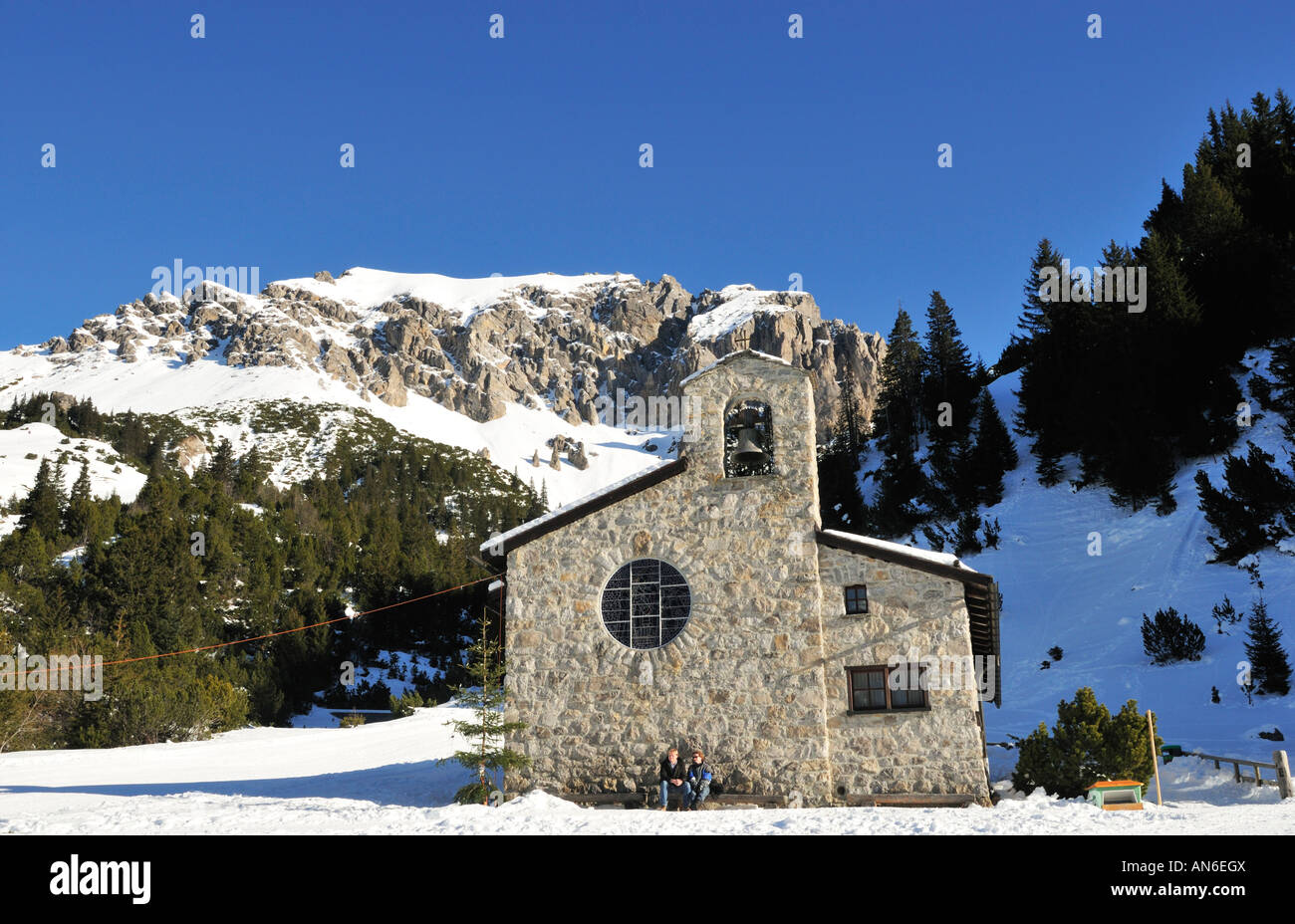 Winter in Malbun - Friedenskapelle with Ochsenkopf, Liechtenstein - Stock Image