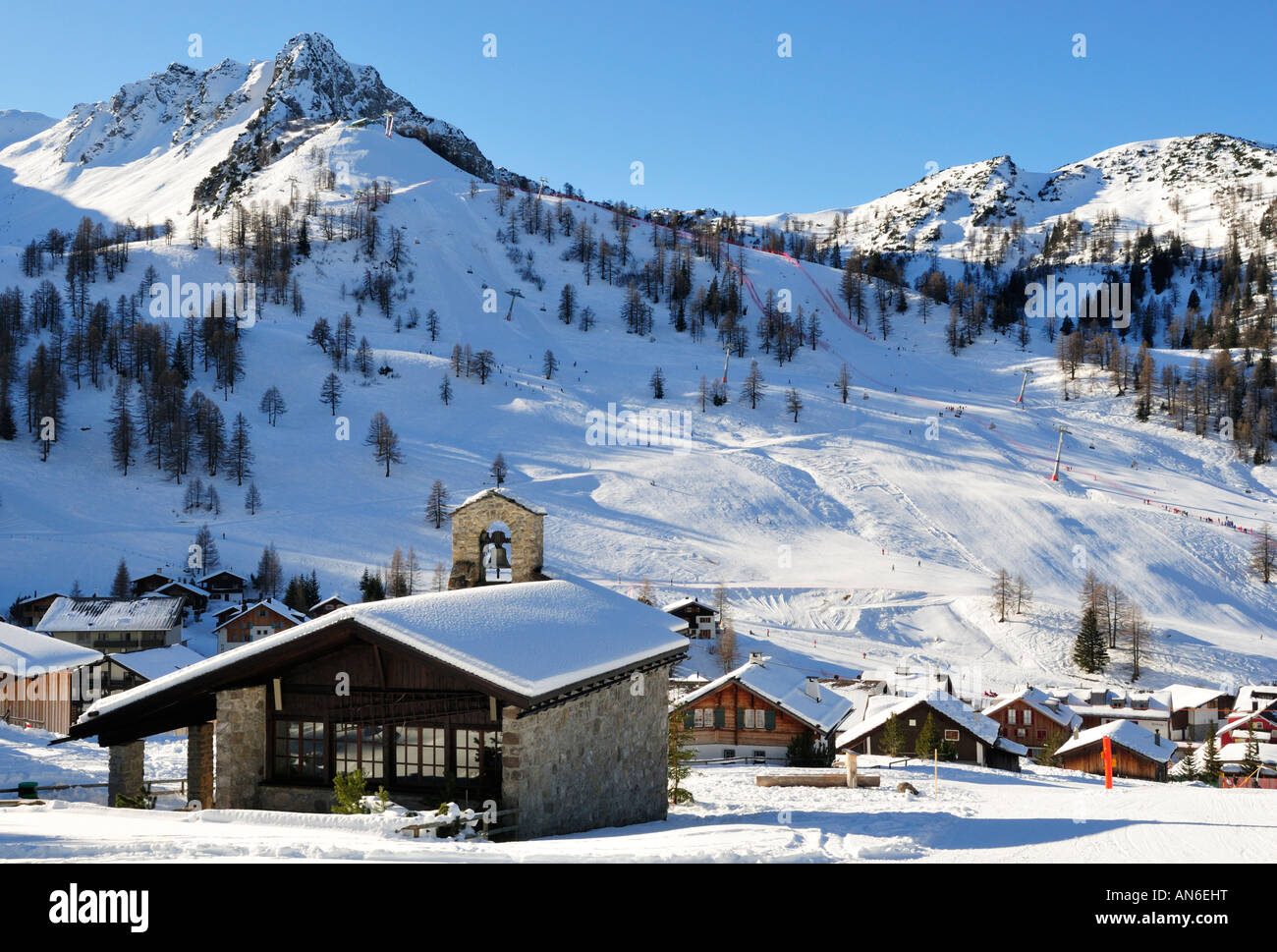 Winter in Malbun - Friedenskapelle towards Hocheck, Liechtenstein FL - Stock Image