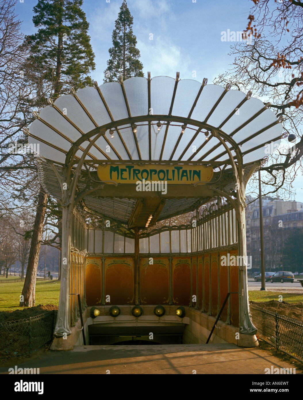 old entrance to the subway Bois de Boulonge created by the parisian architect Hector Guimard - Stock Image