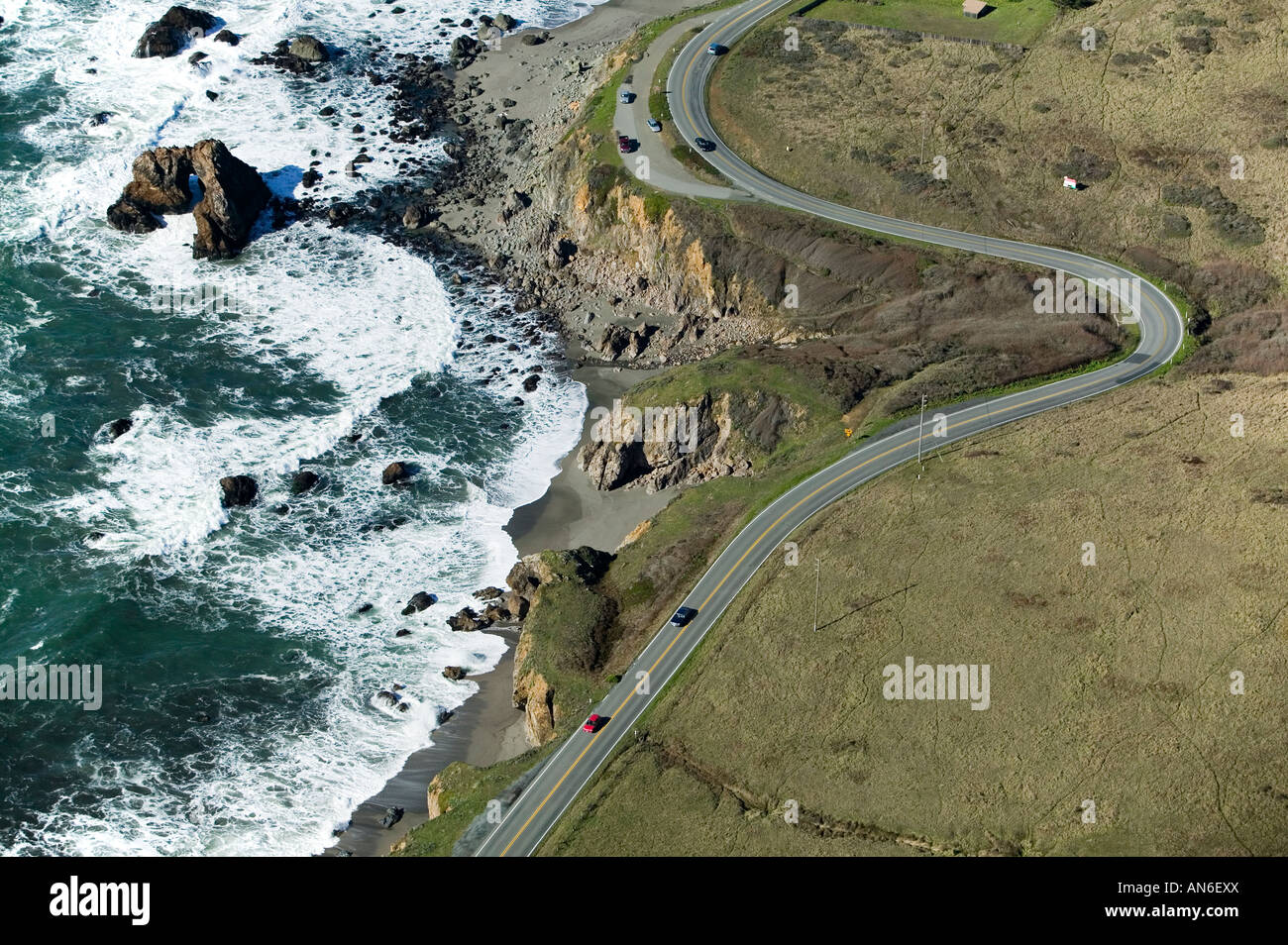 aerial above Highway One Sonoma county, California Pacific coast - Stock Image