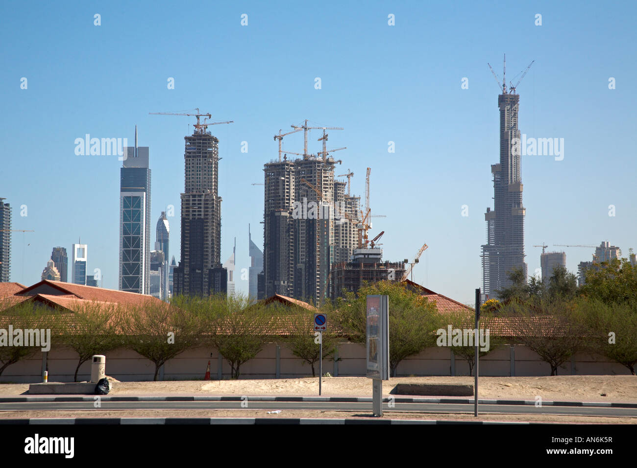 construction site of Burj Dubai, highest building of the world (700m), and surrounding area Stock Photo
