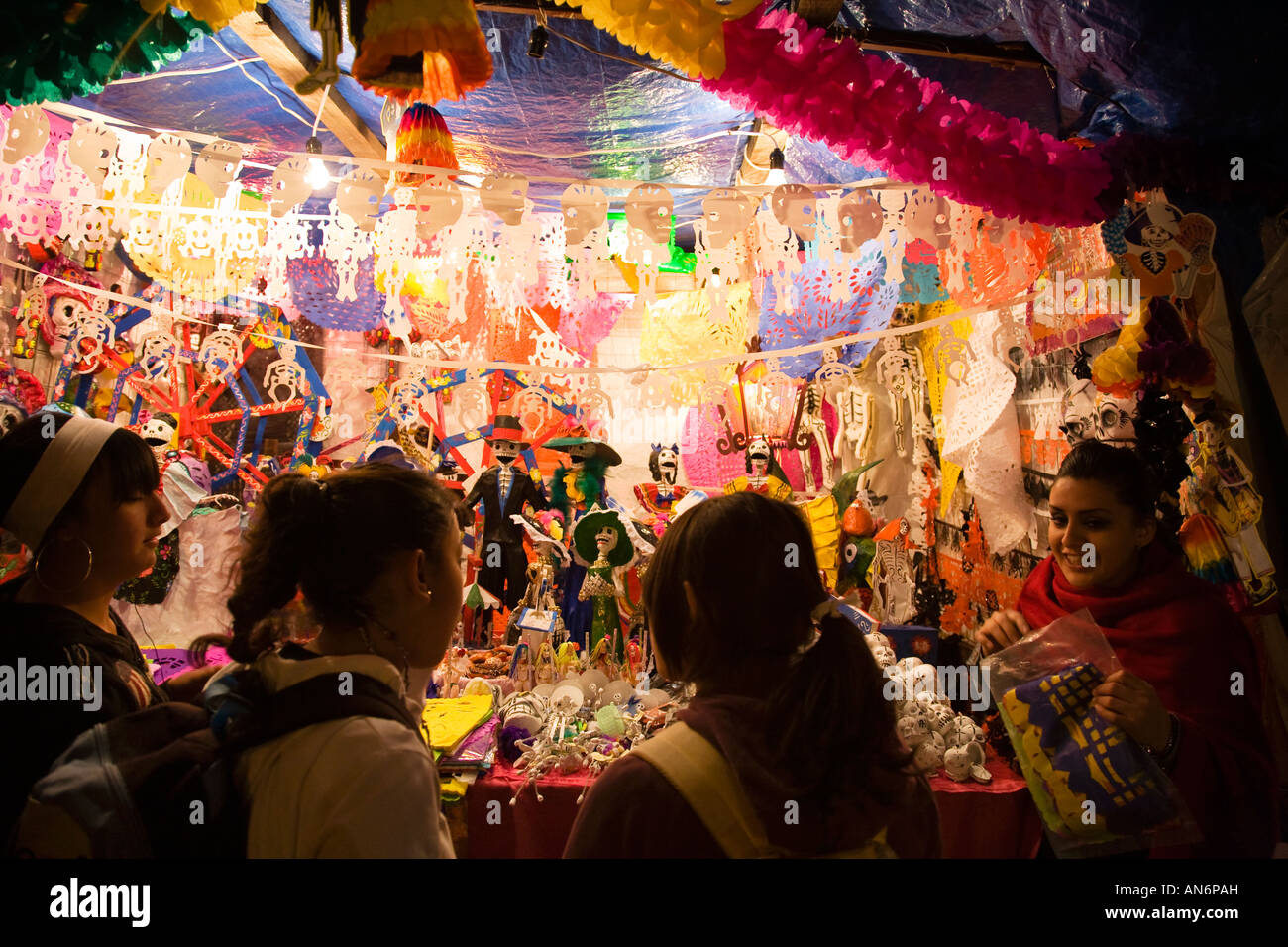 Finest MEXICO Guanajuato Street vendors selling decorations at night  YT38