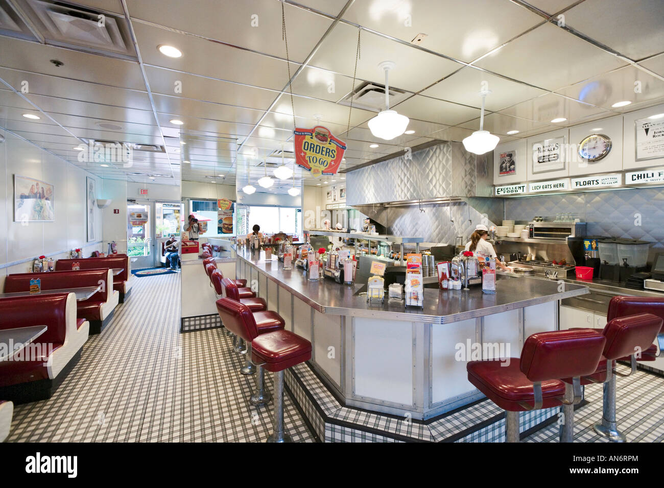 Johnny Rockets Retro Style Hamburger Restaurant, Pointe Orlando, International Drive, Orlando, Florida, USA - Stock Image