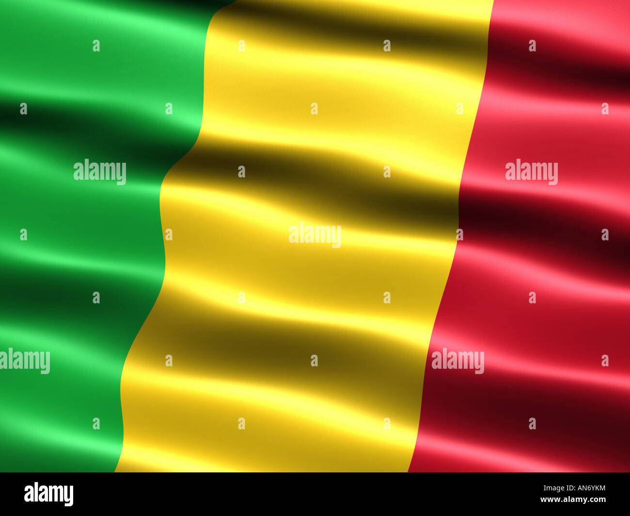Flag of Mali computer generated illustration with silky appearance and waves - Stock Image