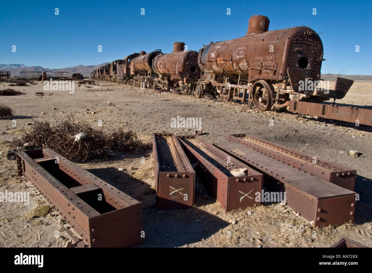 Abandoned trains on the outskirts of Uyuni, SW Bolivia - Stock Image