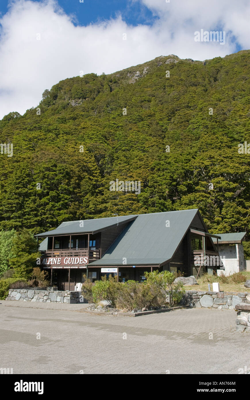 Alpine Guides base in Mt Cook Village  New Zealands Southern Alps - Stock Image