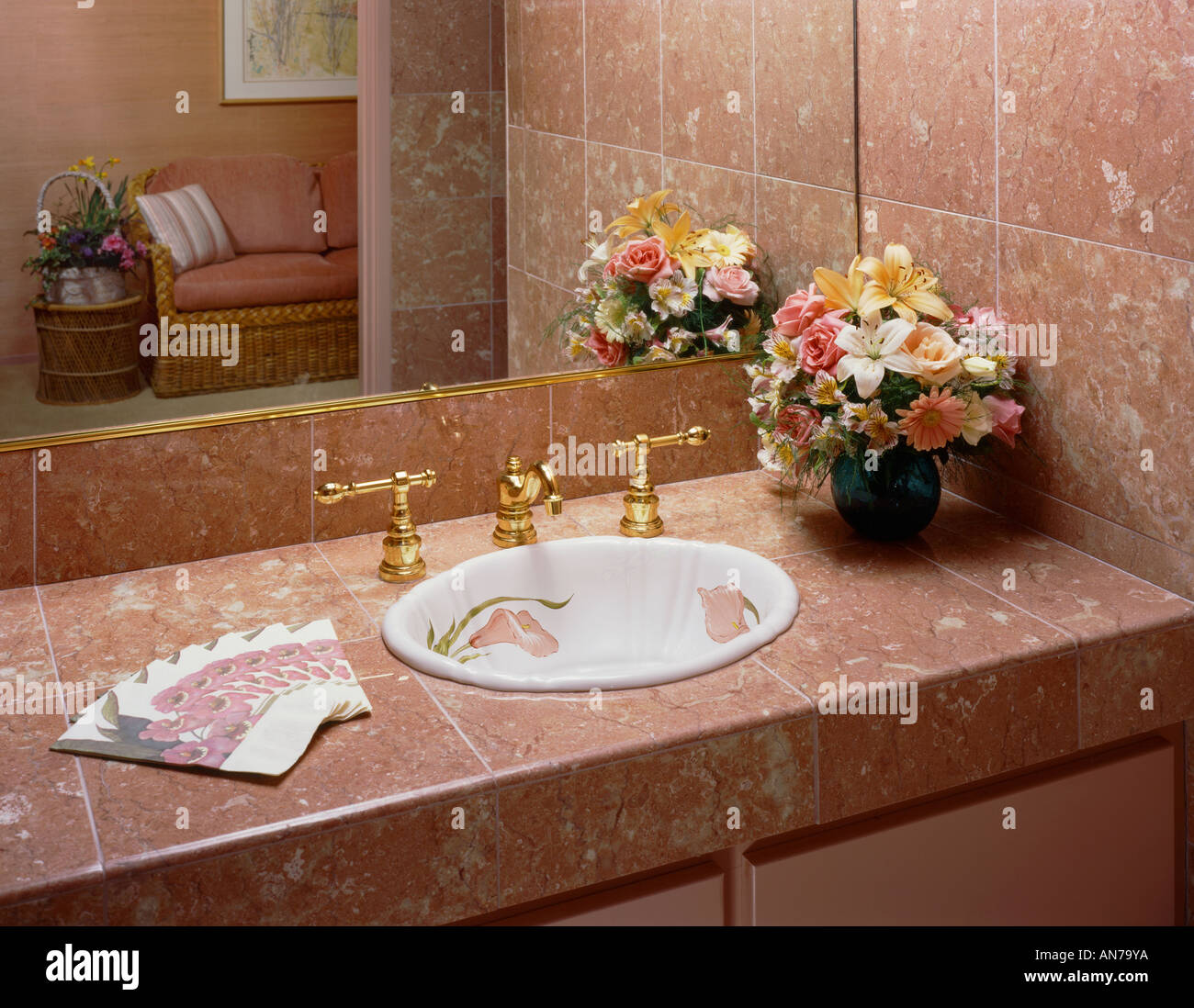 BATHROOM With GOLD SINK SPIGOTS RED MARBLE COUNTER TOP DESIGNER SINK - Bathroom sink spigots