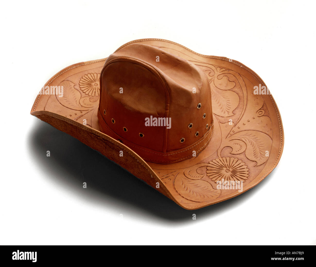 HAND TOOLED LEATHER COWBOY HAT from SOUTH AMERICA - Stock Image