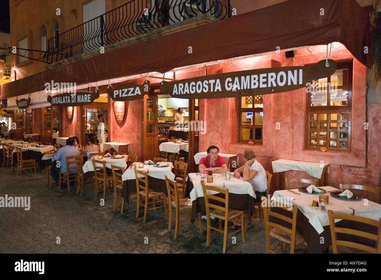 Restaurant On 5th Avenue At Night Playa Del Carmen Riviera
