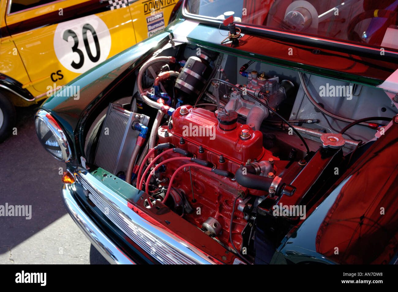 Mini Cooper Dashboard >> 1965 Austin Mini Cooper S with hood open and engine visible Stock Photo: 8821079 - Alamy