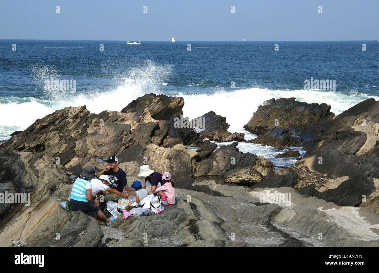 pacific tidepool and picnic - Stock Image