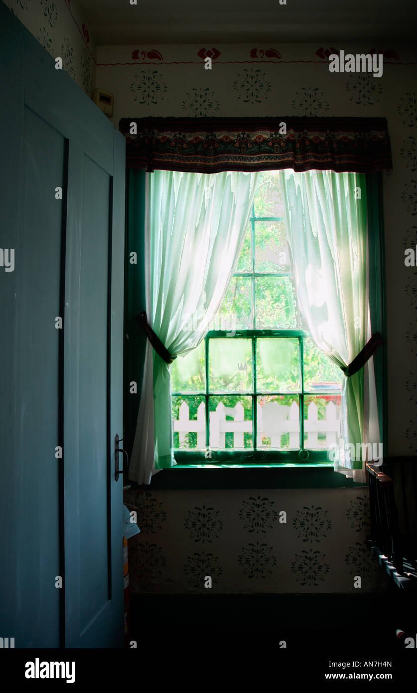 Window at the historic Walker Tavern, Michigan - Stock Image