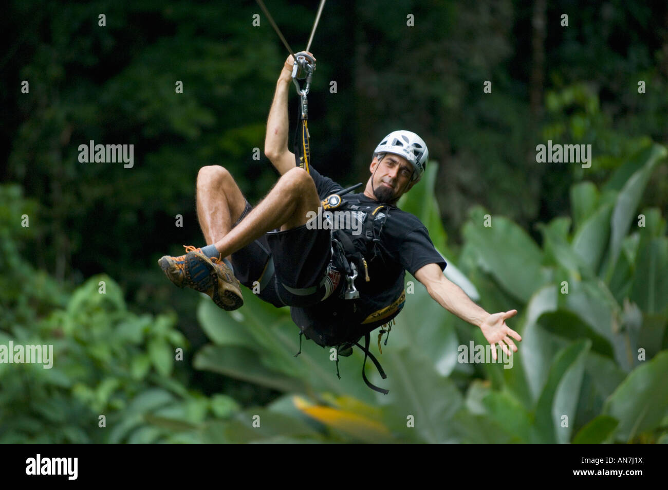 Man on zipline,  Aventuras del Sarapiqui, Costa Rica - Stock Image