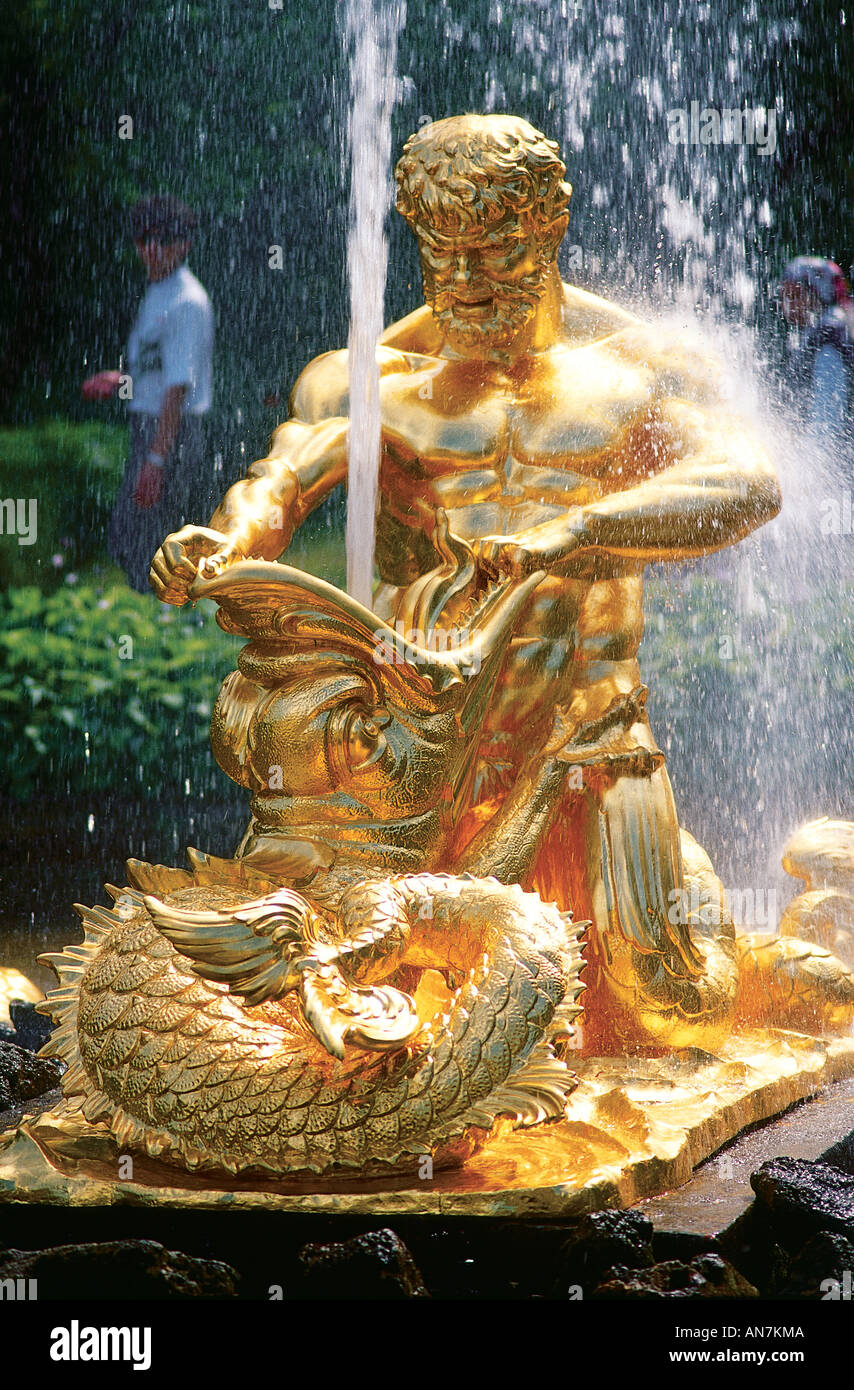Detail of the gilded Neptune Fountain created in the 1650s to celebrate the end of the Thirty Years War in the Upper Garden of the Great Palace at Petrodvorets Peterhof St Petersburg - Stock Image