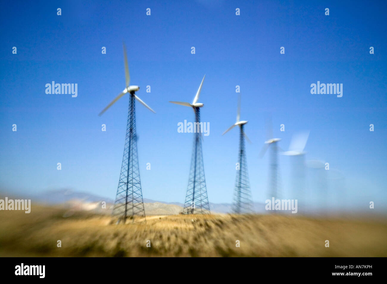 Wind turbines in California, USA - Stock Image