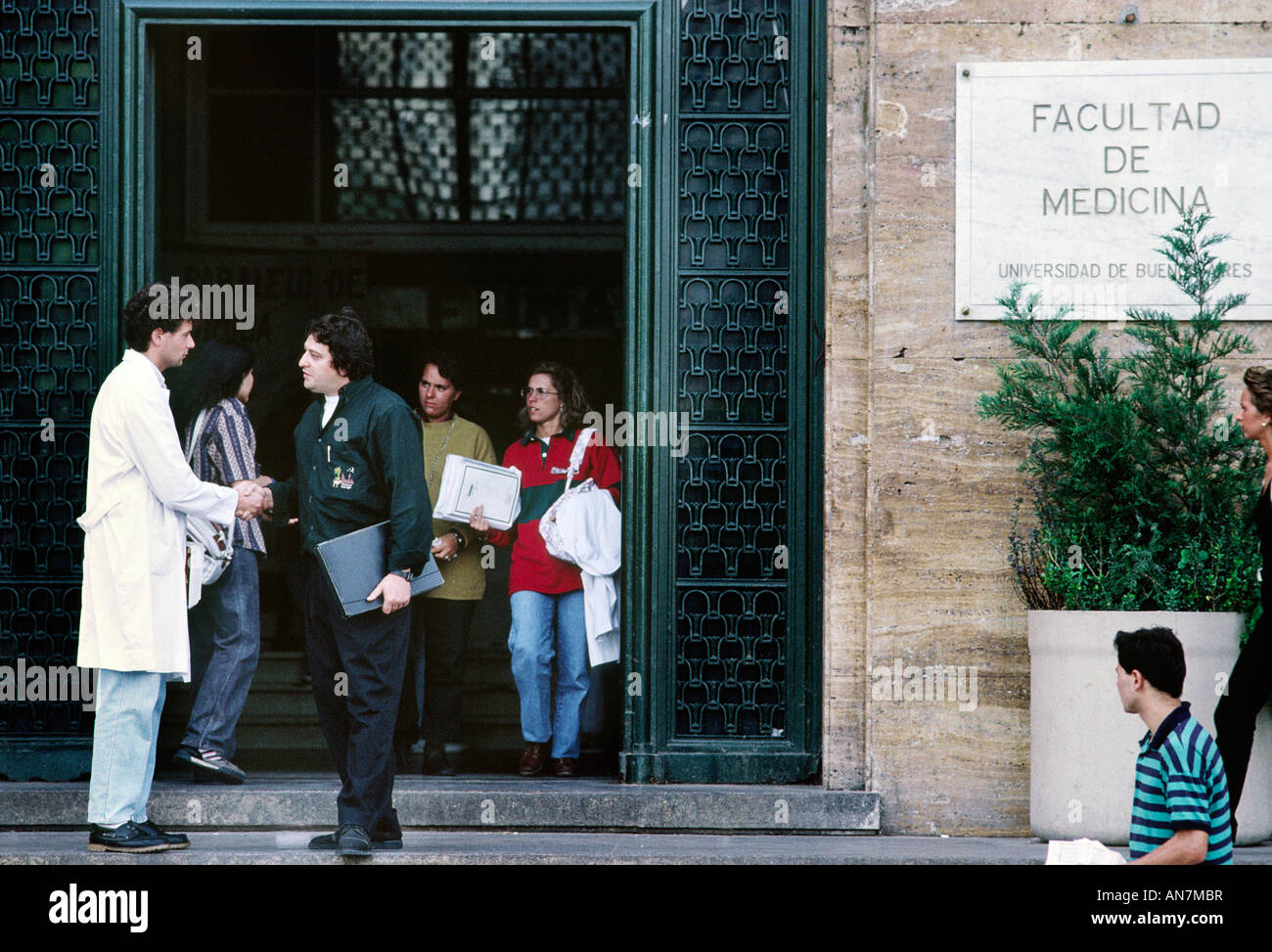 Students outside the medical school Buenos Aires Argentina - Stock Image