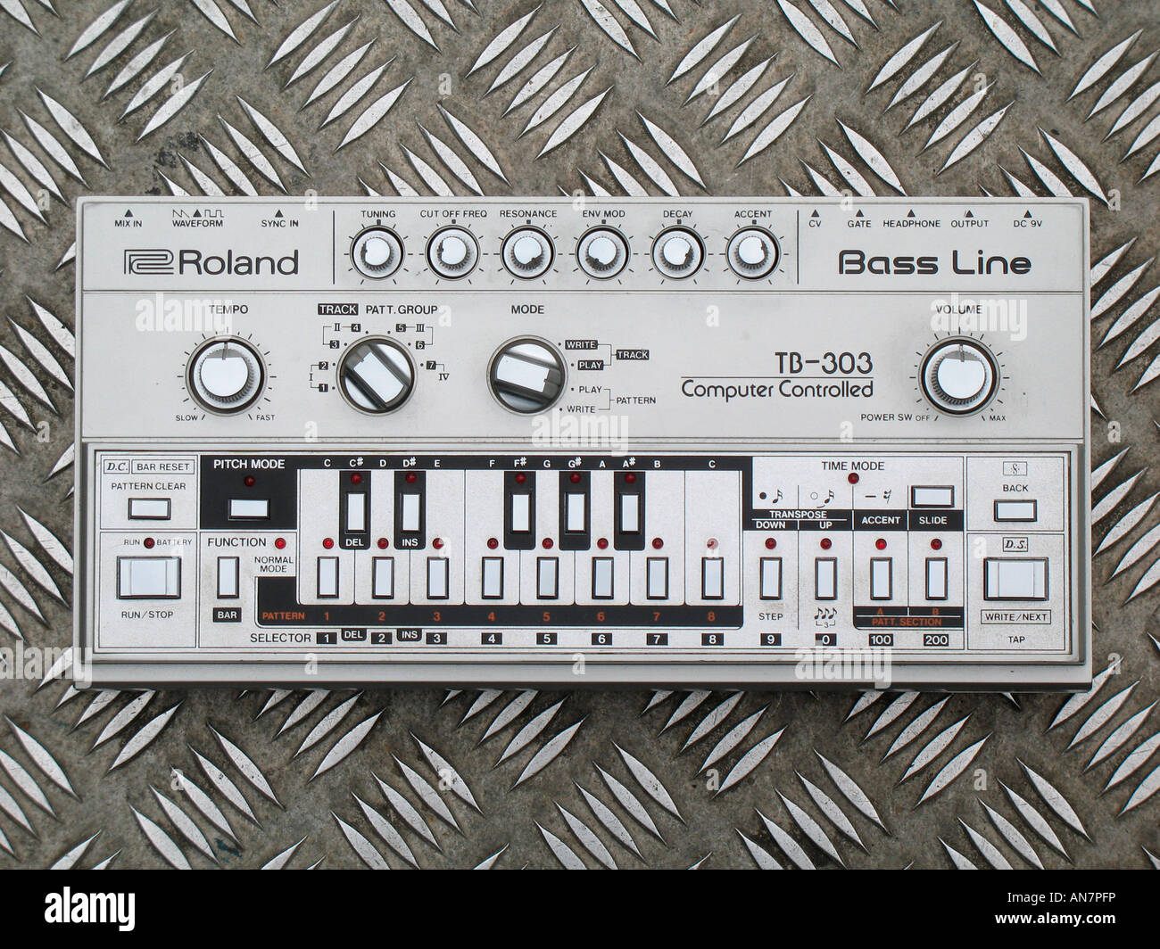 Roland TB 303 Computer Controlled Bass Line the iconic instrument that defined the sound of Acid House music - Stock Image