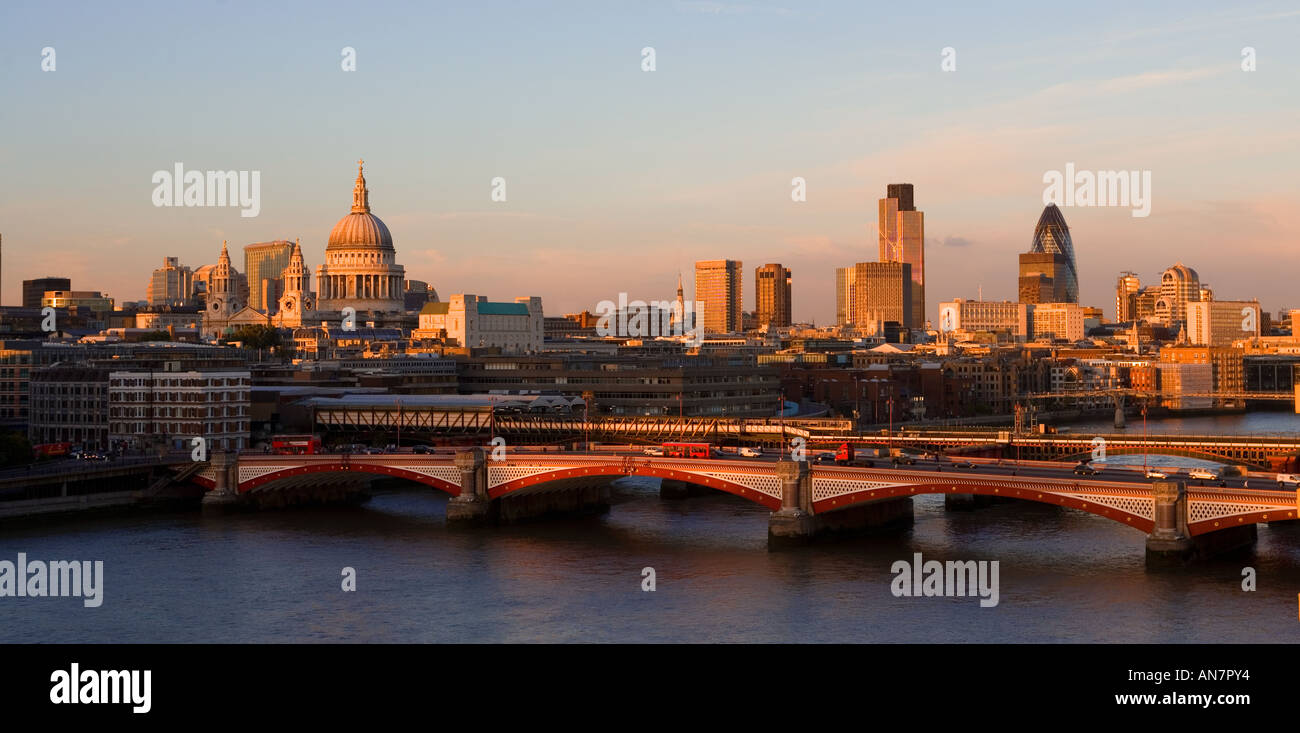 UK London View over River Thames towards st Pauls and the city skyline - Stock Image