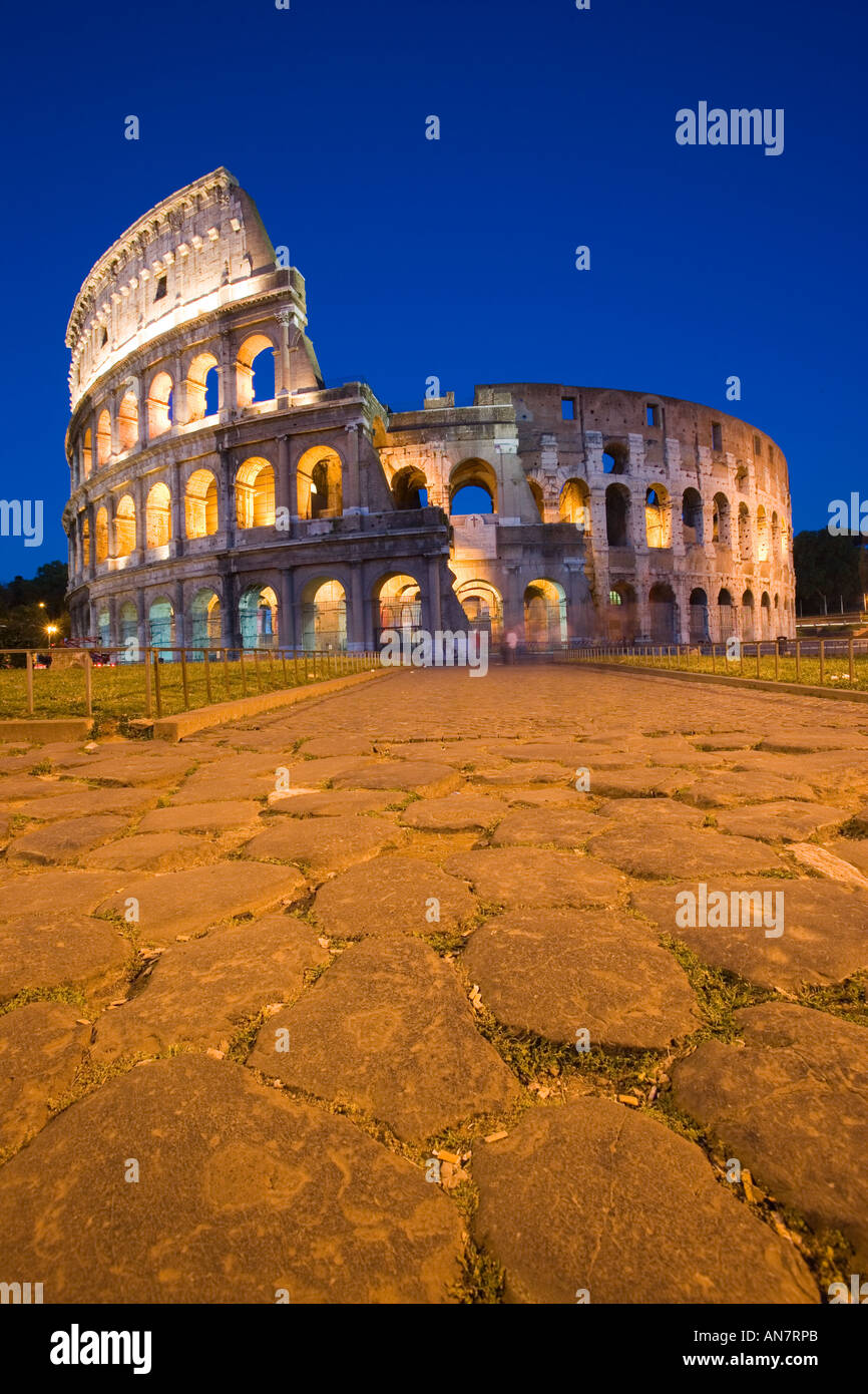 Italy Rome View to the Colosseum illuminated - Stock Image