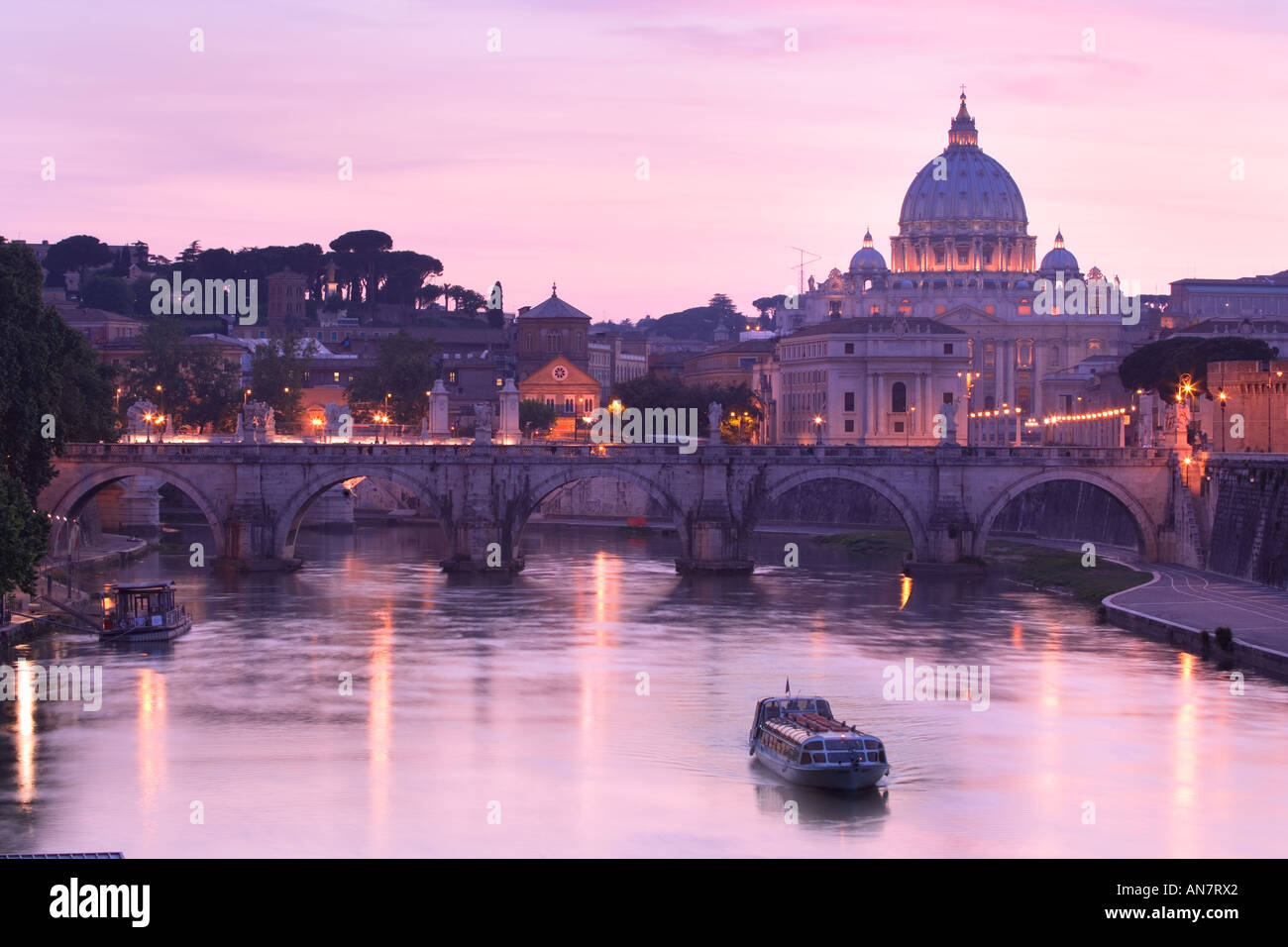 Italy Rome the Vatican City View to St Peters Basilica over River Tiber - Stock Image