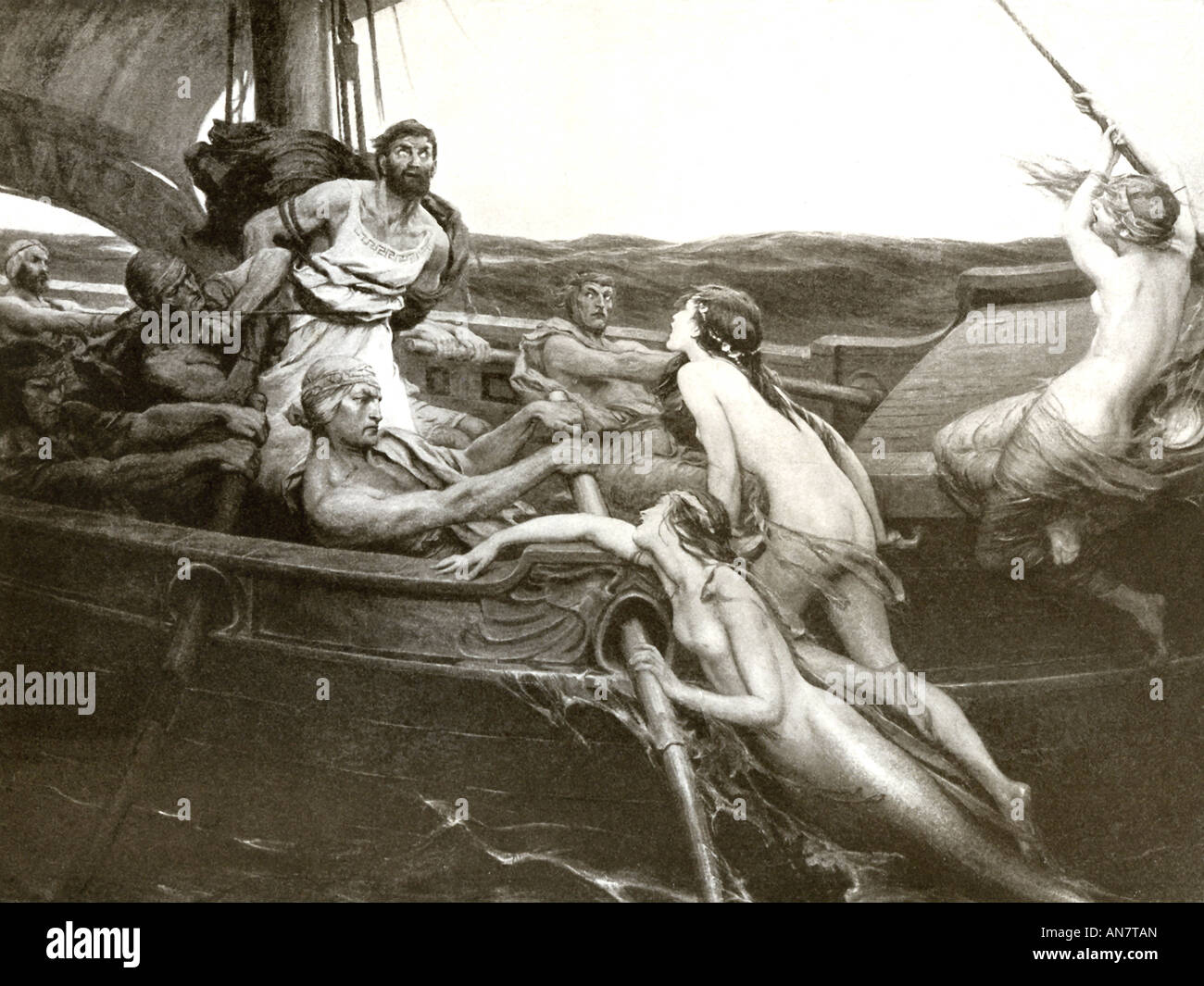 The Sirens attempt to lure the Greek hero Odysseus, bound to the mast of his ship, to their island. - Stock Image