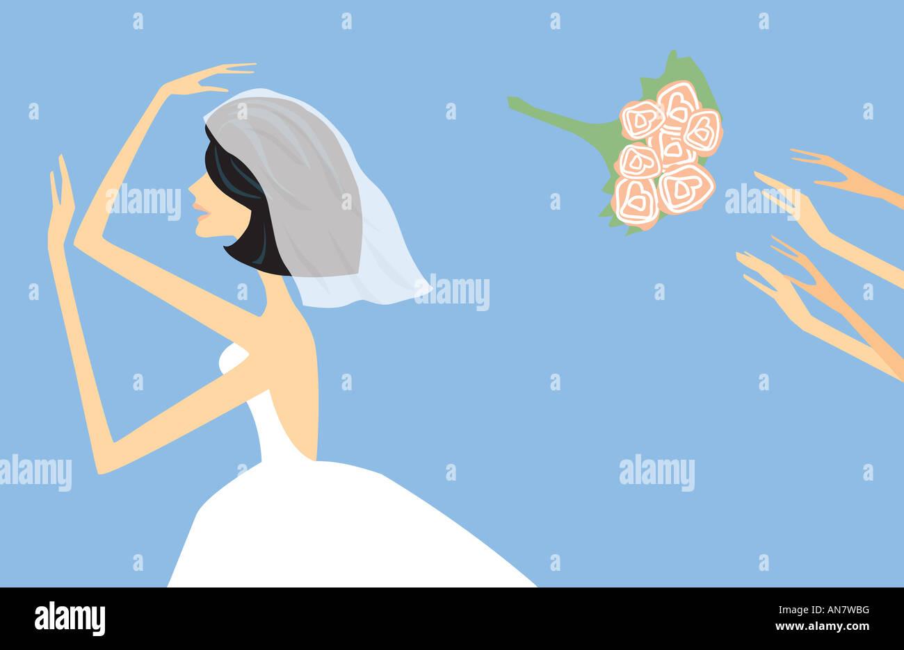 Catching the bridal wedding bouquet - Illustration Stock Photo